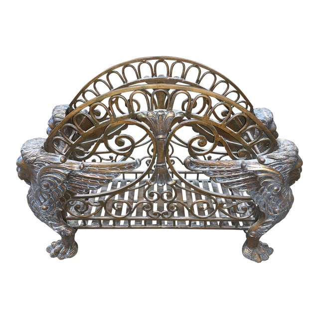 1960s Regency Style Bronzed Magazine Rack With Scrolled Design Lion Supports For Sale