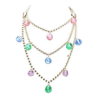 Bill Blass Glass Tiered Bib Necklace. 1970's. For Sale