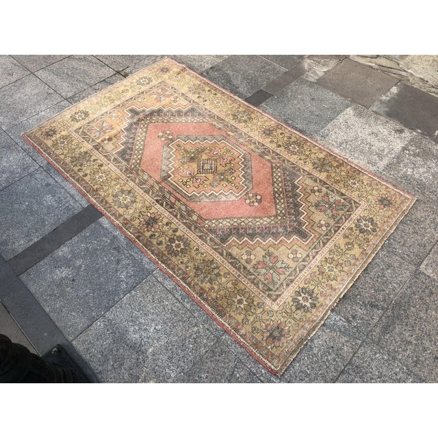Islamic Handwoven Antique Turkish Wool Rug - 3′7″ × 5′11″ For Sale - Image 3 of 10