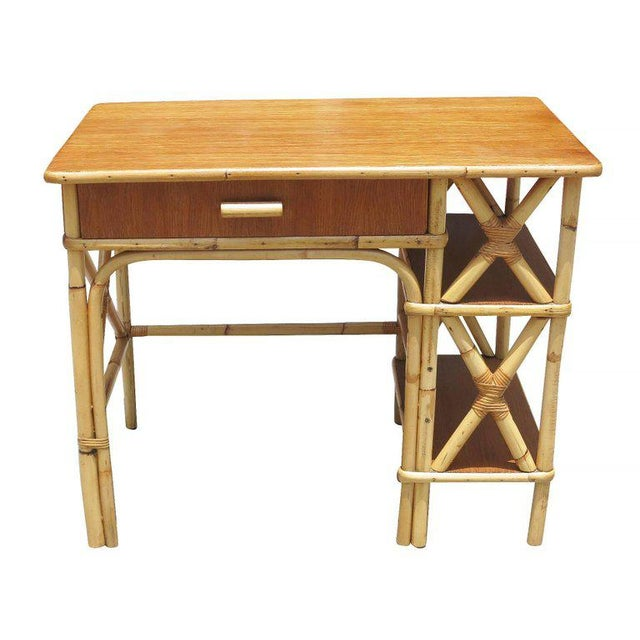 Rattan & Mahogany Secretary Desk with Side Shelf - Image 5 of 8
