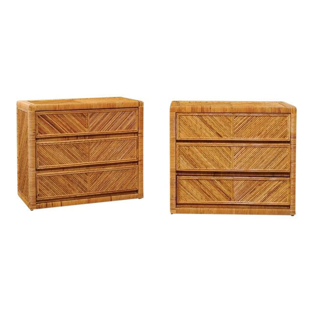 Incredible Pair of Restored Vintage Cane and Reed Bamboo Small Chests For Sale