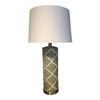 Grey & White Table Lamp For Sale