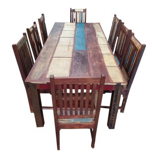 Long Indonesian Dining Table Set For Sale