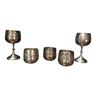 Vintage Quatrefoil Cut Out Candle Holder - Set of 5 For Sale