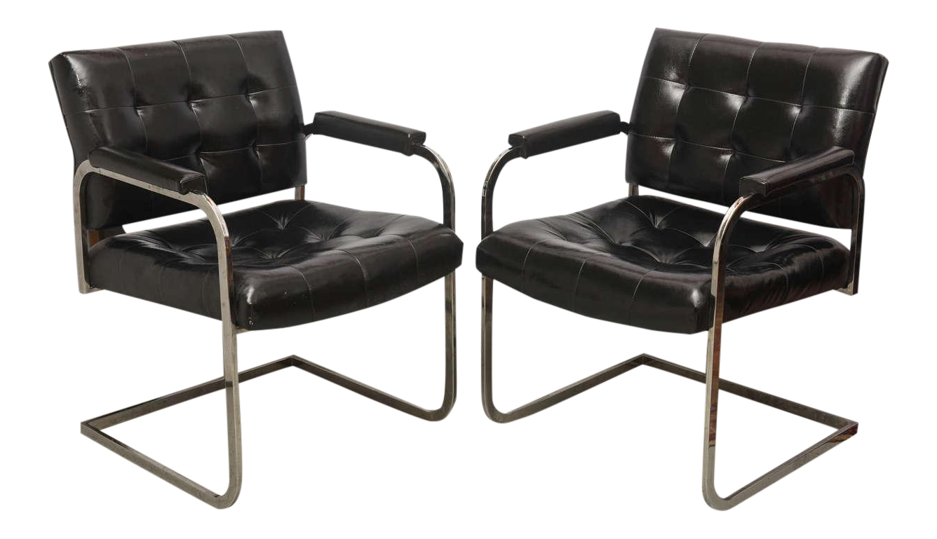 Milo Baughman Style Chrome Lounge Chairs By Patrician Furniture, USA, 1960s    Image 1