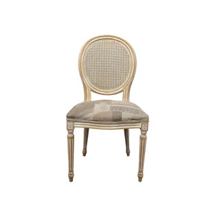 Weave Back Chair With Patterned Gray Seat For Sale