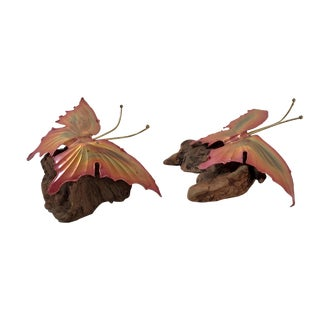 Brutalist Mid Century Metal Butterflies on Wood - a Pair For Sale