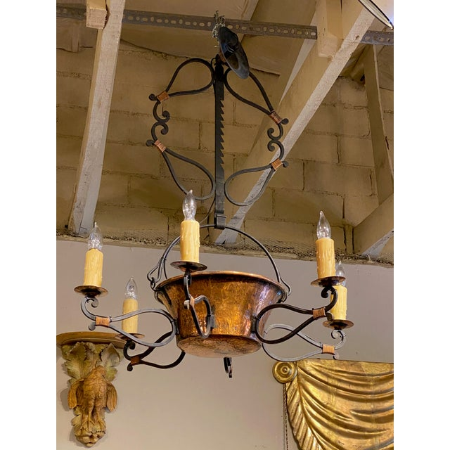 """French Iron and Copper Pot Fixture New Construction from 19th Century Pieces and Parts 26"""" Diameter x 37"""" High"""