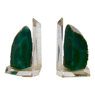 1980s Lucite and Emerald Geode Bookends - a Pair For Sale