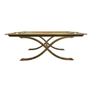 Mid-Century Brass Tray Coffee Table
