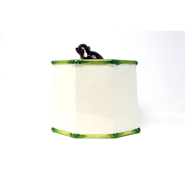1970s Octagonal Ceramic Planter With Monkey and Bamboo - Made in Italy For Sale - Image 5 of 11