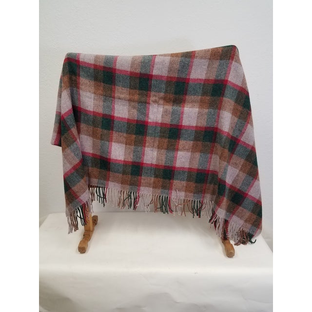 English Wool Throw Green, Red, Brown in a Check Design - Made in England For Sale - Image 3 of 11