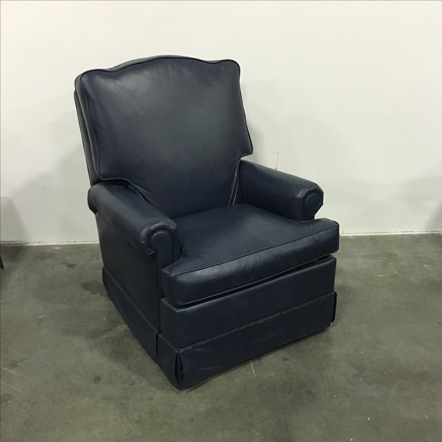 Navy Blue Swivel Recliner by Leathercraft - Image 2 of 10