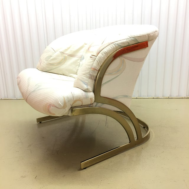Metal Milo Baughman Cantilever Brass Lounge Chair For Sale - Image 7 of 7