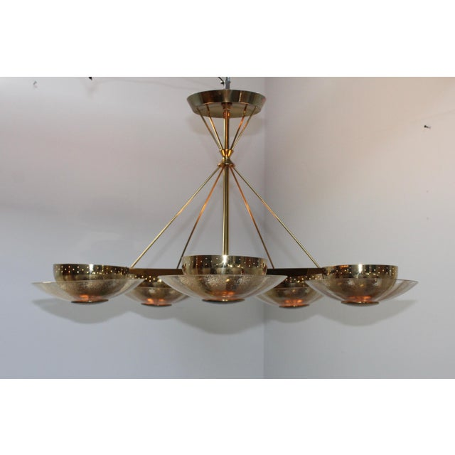 Gerald Thurston for Lightolier Brass and Glass Chandelier For Sale - Image 10 of 13