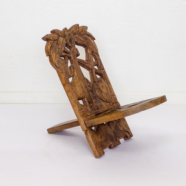 Childs Hand Carved African Chair | Two Piece Palaver Camp Chair For Sale - Image 11 of 11