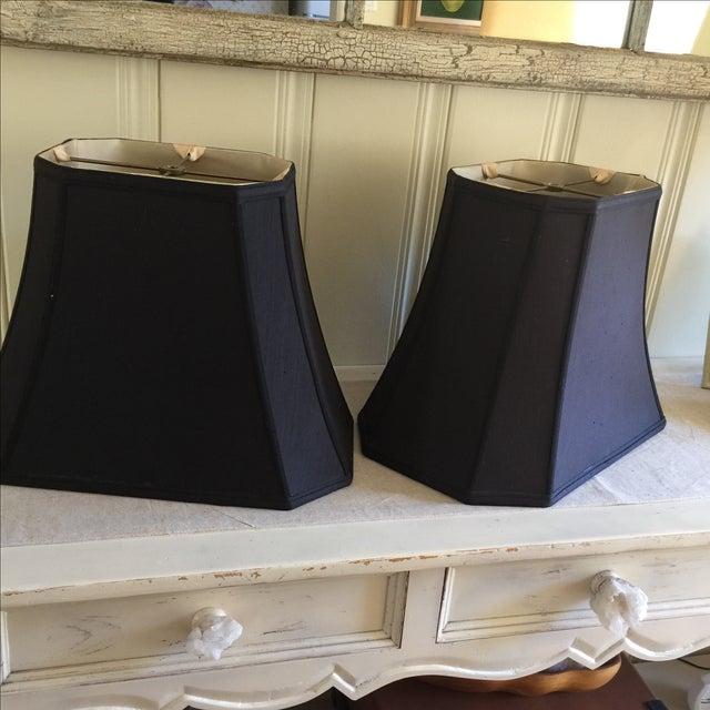 Mid-Century Black Silk Lamp Shades - A Pair - Image 3 of 11