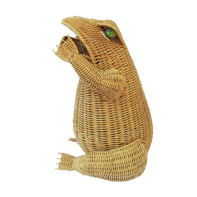 1970s Vintage Whimsical Rattan Wicker Frog Basket For Sale - Image 6 of 11