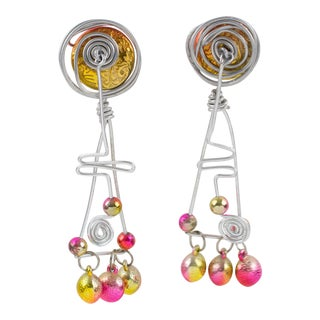 Space Age Futurist Silver Aluminum Dangling Clip Earrings With Iridescent Beads For Sale