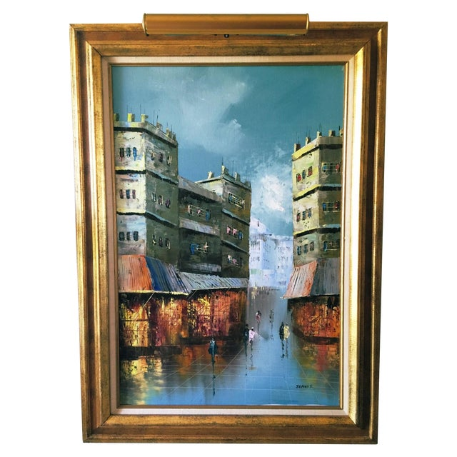 Vintage Cityscape Oil on Canvas by Jenner For Sale