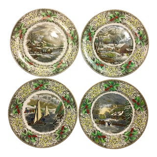 Adams England Winter Scene Dinner Plates - Set of 4