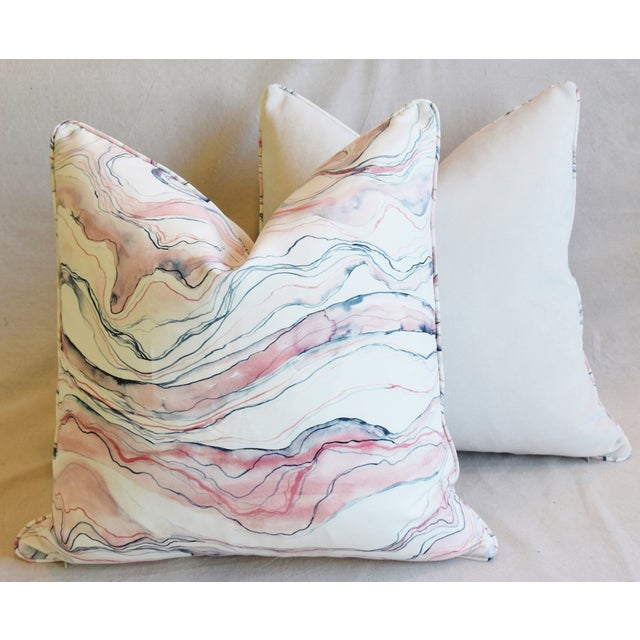 "Modern Blush-Pink Marbleized Feather/Down Pillows 22"" Square - Pair For Sale - Image 11 of 13"