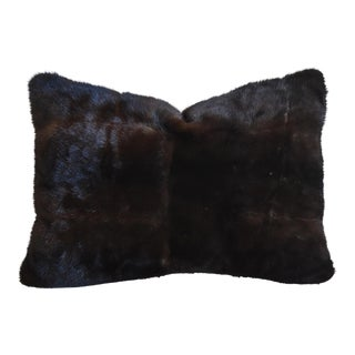 Dark Brown Mink Fur & Velvet Feather/Down Pillow For Sale