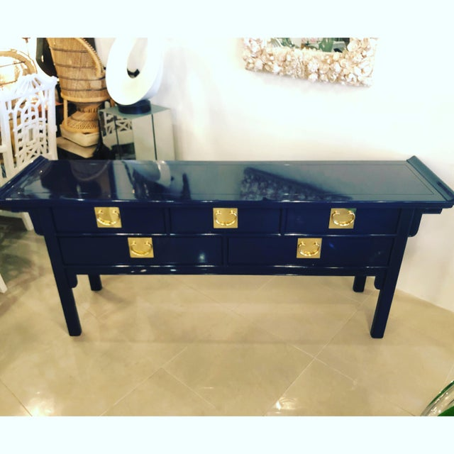 Century Furniture Vintage Century Furntiure Pagoda Navy Blue Lacquered Brass Hardware Console Table For Sale - Image 4 of 11