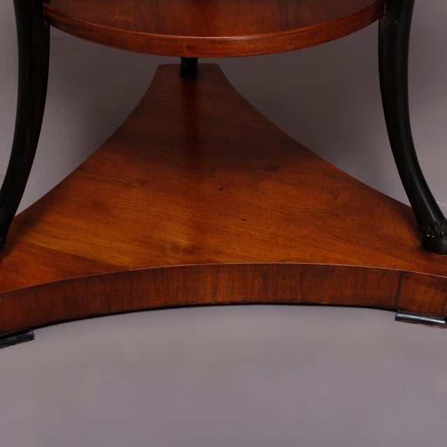 Vintage French Empire, Figural Ebonized & Gilt Mahogany Lamp Stand For Sale - Image 9 of 10