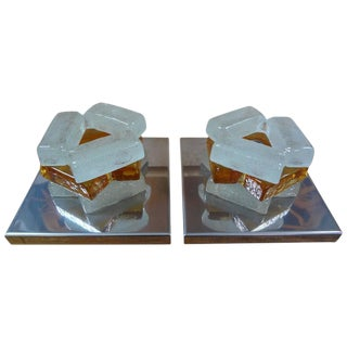 1960s Geometric Poliarte Style Murano Frosted and Amber Glass Sconces - a Pair For Sale