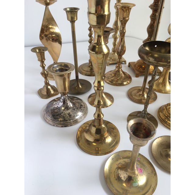 Brass Vintage Brass Candlesticks - Lot of 21 For Sale - Image 7 of 10