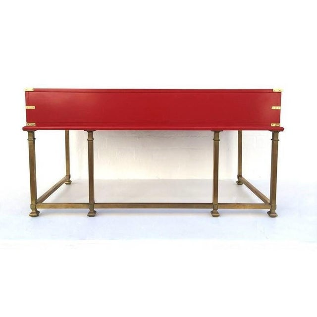 Metal Vintage Campaign Style Writing Table/Desk Lacquered in Red For Sale - Image 7 of 11