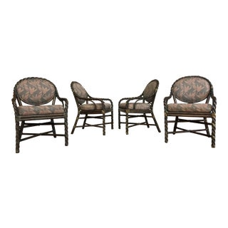 McGuire Olive Twisted Rattan Vintage Dining Chairs - Set of 4 For Sale