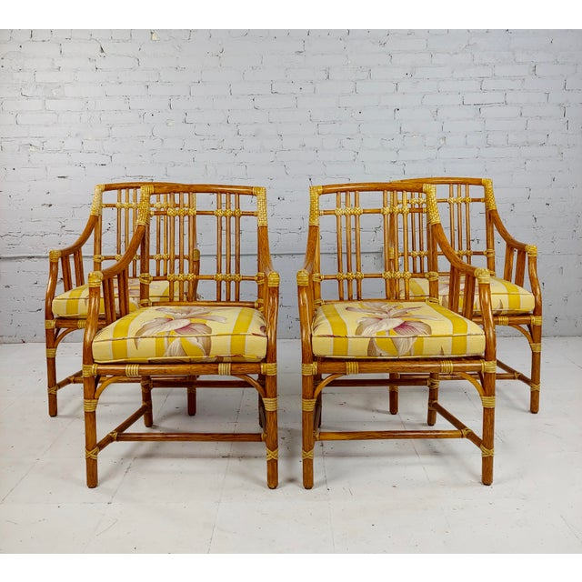 Vintage McGuire Rattan Dining Chairs - Set of 4 For Sale - Image 11 of 11