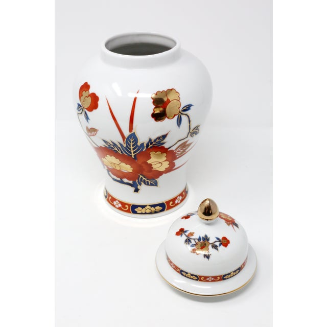 Japanese Vintage Ginger Jar With Hand-Painted Rust, Blue and Gold Flowers For Sale - Image 3 of 11