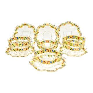 12 Venetian Quatrefoil Gold Dessert Bowls and Plates Blue, Red & Green Enamel For Sale