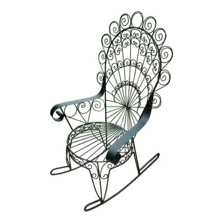 Vintage John Salterini Peacock Wrought Iron Rocking Chair For Sale