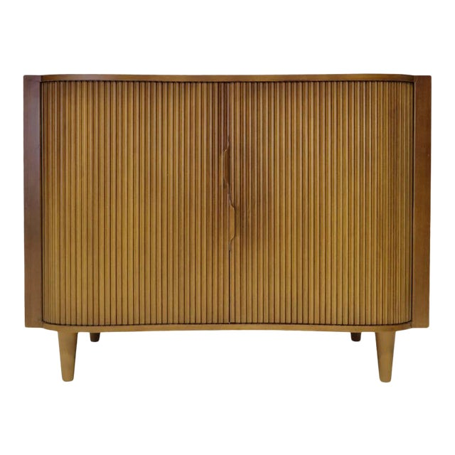 1950s Dunbar Mister Chest With Tambour Doors by Edward Wormley For Sale