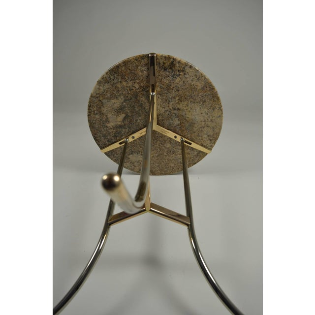Cedric Hartman Side Table, Steel and Brass Base For Sale - Image 5 of 10
