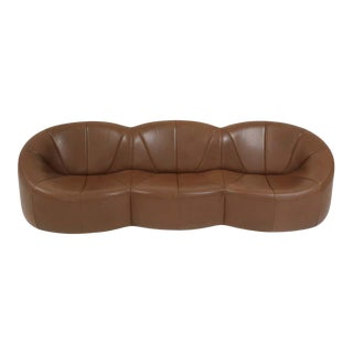 Pierre Paulin Leather Pumpkin Sofa For Sale