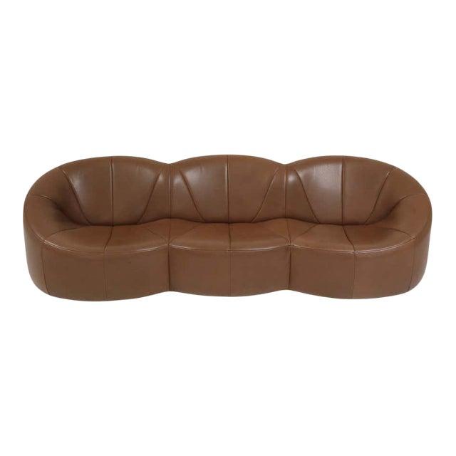 Pierre Paulin Leather Pumpkin Sofa For Sale