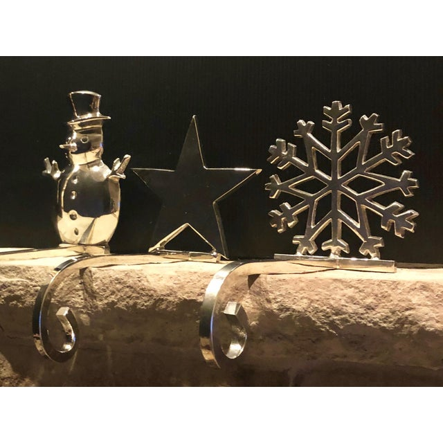 Vintage Stocking Holders Silver Christmas Snowman, Star, Snowflake Hooks - Set of 3 For Sale - Image 12 of 12