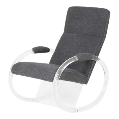 1970s Charles Hollis Jones Lucite Steel Grey Alpaca Upholstered Rocker For Sale