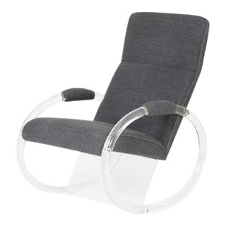 "1970's Lucite Rocker by Charles Hollis Jones (a.k.a ""Mr. Lucite"") With Steel Grey Alpaca Upholstery."