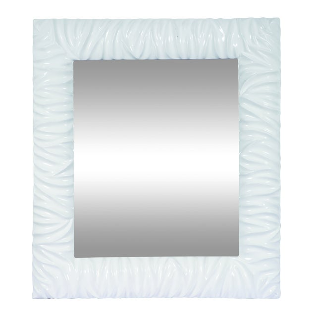 Abstract Wood Rectangle White Wall Mirror For Sale - Image 3 of 3