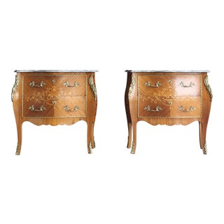 1900s Antique French Rococo Marble Top Nightstands-a Pair For Sale