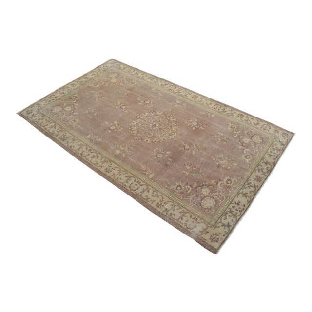 Vintage Turkish Hand Knotted Area Rug Distressed and Faded Colors - 5′1″ × 8′4″ For Sale