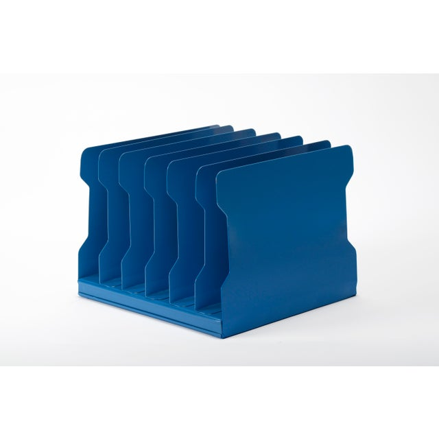 1940s Desktop Memo/ File Holder, Refinished in Moon Blue For Sale In Los Angeles - Image 6 of 6