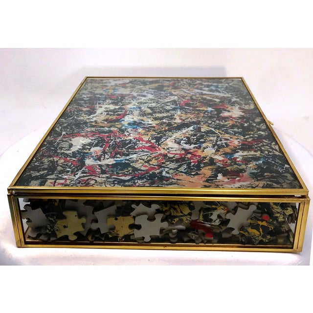 Late 20th Century Vintage Jackson Pollock Puzzle in Glass & Brass Shadow Box For Sale - Image 5 of 8