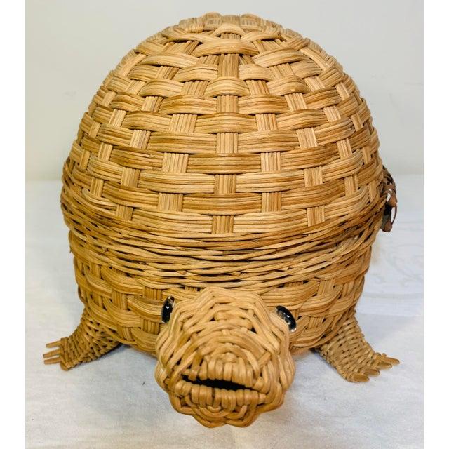 Mid-Century Modern Mid Century Modern Wicker Turtle Storage Box For Sale - Image 3 of 10